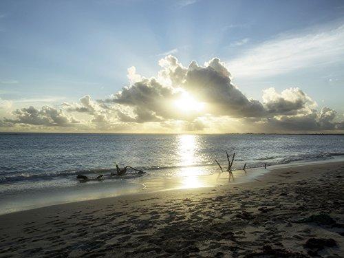 Artland Qualitätsbilder I Bild auf Leinwand Leinwandbilder Wandbilder 120 x 90 cm Landschaften Strand Foto Blau B7DC Sonnenuntergang