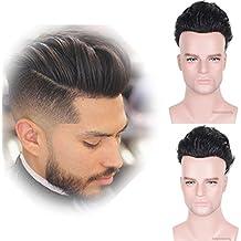 Auspiciouswig - Piezas de pelo humano natural para hombre con sistema de piel delgada de repuesto