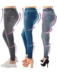 3x Comfortisse TM Slimming Jeggings in Jeans, Größe L/XL Blau, Schwarz und Grau