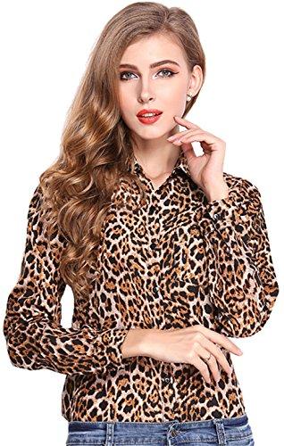 Fashion Langarm Tasche Taschen Knopfleiste Vorne Leopard Gedruckt Muster Chiffon Blouse Bluse Shirt Hemd Oberteil Top Brown M (Leopard Chiffon Bluse)