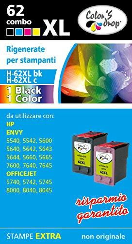Cartucce rigenerate hp 62xl bk + 62xl color combo pack ad alta capacità