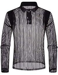 BUSIM-Men Long Sleeve Shirt Autumn Casual Mesh Nightclub Mesh Lapel Buttons Translucent Personality T-Shirt Top...