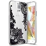 Coque Galaxy S5,Surakey Etui Housse Silicone Transparent pour Samsung Galaxy S5 Coque de Protection en TPU Bumper et Anti-Scratch avec dessin animé Motif (Noir Mandala Fleur)