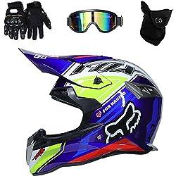 Casco de Motocross Endurance ATV Fibra de Carbono Casco de la certificación D. O. T, Incluyendo Gafas/Guantes/máscara,D,XL(61~62cm)
