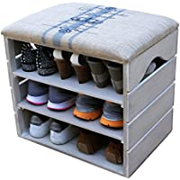 SHOE RACK - Premium Vintage Wooden Shoes, footwear, Organiser, Storage, Cabinet, Holder Bench with Soft Seat Cushion for Entryway, Hallway- LIZA - 51 x 47 x 35 cm (Vintage White)