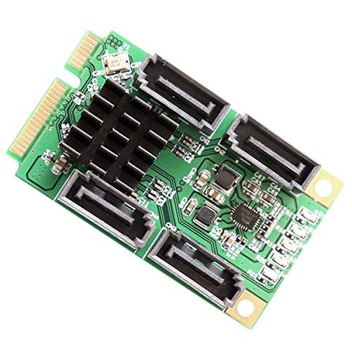 IO Crest SI-MPE40125 4 Port SATA 6.0 Gbps III Mini PCI-Express Host Controller Card - Green/black