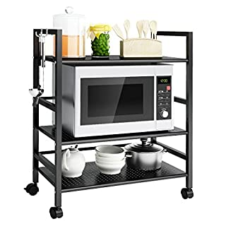 LANGRIA 3 Tier Storage Trolley Cart All-Purpose Standing Wire Mesh Rolling Cart with Hooks and Adjustable Feet, Rack for Home Office Organisation Kitchen Bathroom Max Load 30kg. (Black)