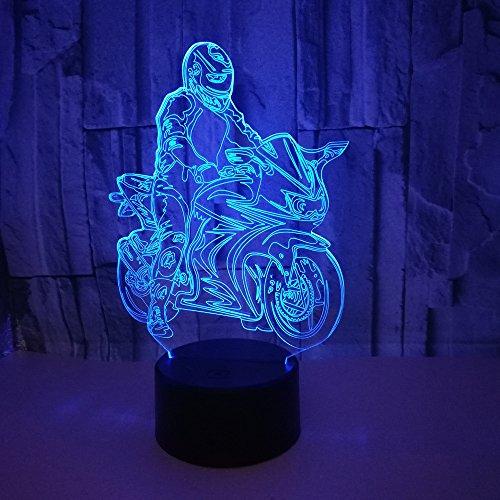 Kjfgkf @ 3D Nachtlicht Langlauf-Motorrad Led 3D Lampe Nachttischlampe Schlafzimmer 3D Nachtlicht Weihnachtsschmuck 7 Farbwechsel Kinder Beste Geschenk