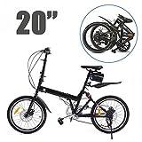 Ridgeyard Faltbares Fahrrad 20 Zoll 6-Fach Faltmaschine + LED Batterie Leuchte + Sitztasche + Fahrradglocke (Schwarz)