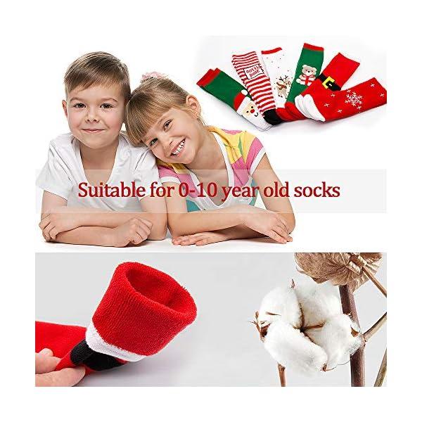 MMTX Navidad calcetín lindo de algodón Animal de dibujos animados reno de Santa Claus antideslizante Unisex 6 pares… 4