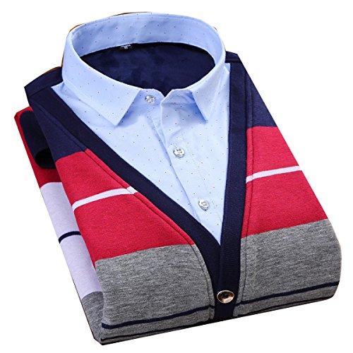 CHLXI Uomini Camicia Calda Più Spessa Due Magliette False Camicetta 1704