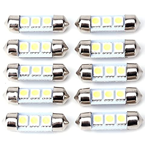 10 x 36MM 3 SMD 5050 LED Festoon Interior Car Dome Bulb Light Lamp(White)