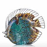 Tooarts Glas Skulptur Heimdekoration Glas Fische moderne Skulptur Bunt gepunktete tropische Fische Typ 1