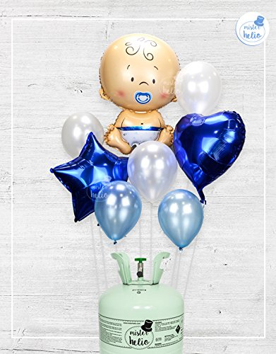 Bombona de helio Mr.Helio + globos babyshower niño