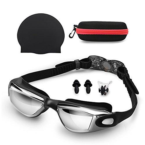 Schwimmbrille & Silikon Badekappen mit Nase Clip & Ohrstöpsel, (keine undichte UV-Schutz Anti-Fog-Schwimmbrille mit verstellbarem Gurt für Erwachsene) (Schwarz)