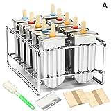 HUVE 10 PCS Edelstahl Popsicle Form, Eiscremeform DIY Home Use Edelstahl Eis Am Stiel Formen (Stil-A)