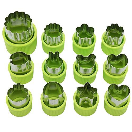 Cuitan Gemüse Obst Ausstecher 12 Stück Edelstahl Ausstechformen Gemüseschneider Keks Plätzchen Schneider mit Schutzgriff für Keks Ausstecher, schneiden Gemüse, Obst und Plätzchen