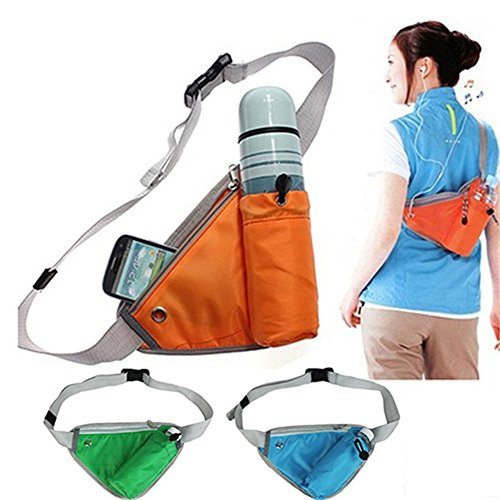 HSCD1976 uomo donna triangolo Pocket bottiglia Phone Holder Outdoor sport viaggio borsa a tracolla in vita confezione, Blue Orange