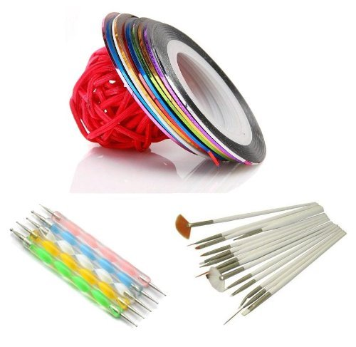Five Seanson 10 rouleaux de Tape Sticker Multi Couleurs + 15 Pinceaux A Ongles Blancs + 5 Stylos Dotting Tools