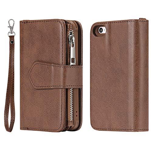 Mioc Apple iPhone 5/5S/SE Hülle, Abnehmbarer 2 in 1 Luxus Premium Leder Reißverschluss Portemonnaie mit Großer Kapazität Hülle, Magnetischer Ständer Funktionsüberzug [Überraschungs], Kaffee (Marvel Handy-fall Iphone 5)