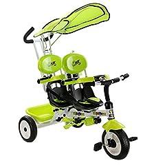 Idea Regalo - Goplus Triciclo a 2 sedili per Bambini Triciclo Doppio a Spinta, Regolabile con Maniglione e Parasole, Maniglione controlla Il Volante, Pedali Nascondibili
