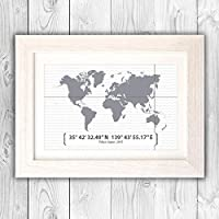 Personalised world map coordinates print/Engagement gift/Wedding present/New home gift/civil partnership gift / VA024