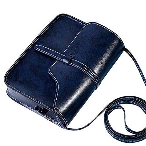 borsa vintage borsa, FEITONG tracolla in pelle tracolla messenger (Blu scuro)