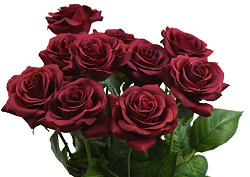 FiveSeasonStuff® 10 Stück Gefühlsecht (Real Touch) Rosen Seiden künstliche Blumen 'Blütenblätter fühlen und sehen wie frische Rosen' Bouquet Dekoration Blumenarrangement, ideal für die Hochzeit, Braut, Party, Zuhause, Büro Dekor DIY (# 3 Dunkelrot)