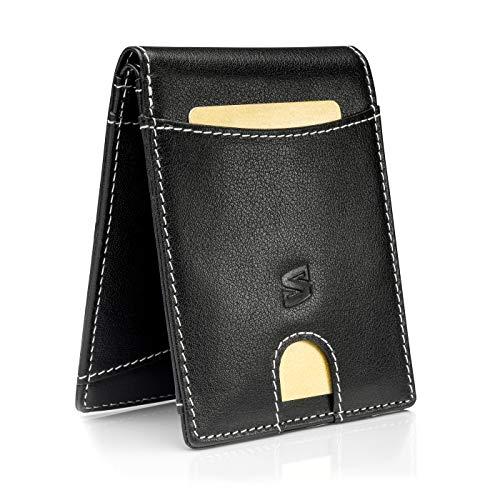 f4ecc29eea348 Schwarz Weiß Karten Portemonnaie ohne Münzfach mit RFID-Schutz Geschenk-Box  Männer-Geldbörse