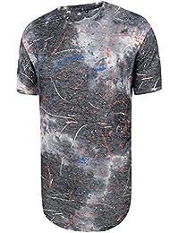 Pizoff Unisex Hip Hop Design Langes T Shirts IM Distressed-Look