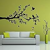 denoda Ast mit drei Vögeln - Wandtattoo Schwarz 117 x 75 cm (Wandsticker Wanddekoration Wohndeko Wohnzimmer Kinderzimmer Schlafzimmer Wand Aufkleber)