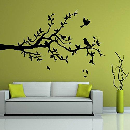 denoda® Ast mit drei Vögeln - Wandtattoo Schwarz 117 x 75 cm (Wandsticker Wanddekoration Wohndeko Wohnzimmer Kinderzimmer Schlafzimmer Wand Aufkleber) (Schwarz-wand-aufkleber Für Schlafzimmer)
