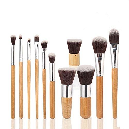 Bluelover Maange 11 Pièces En Bambou Poignée De Maquillage Fard À Paupières Blush Pinceau Set