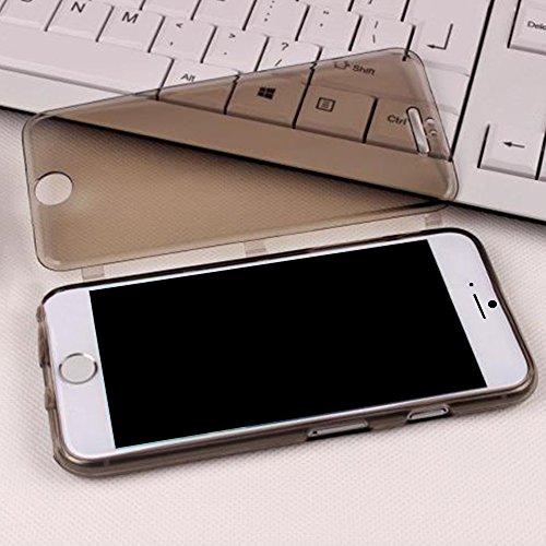 Cuitan Transparent Weiche TPU Flip Schutzhülle für Apple iPhone 6 plus / 6s plus (5,5 Zoll), mit Touch Screen Funktion Vorderseite Abdeckung Protector Hülle Cover Case Handytasche Handyhülle für iPhon Schwarz