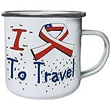 Nuevo I Love Travel Chile Retro, lata, taza del esmalte 10oz/280ml l720e