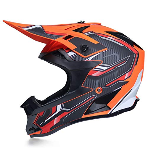 PRO Casco Motocross Nero e Arancio, Fodera Rimovibile/Certificazione DOT, Casco Integrale MTB Enduro Casco da Cross Adulto Donna Uomo per Downhill Moto Motociclista off-Road Scooter Sport,XL
