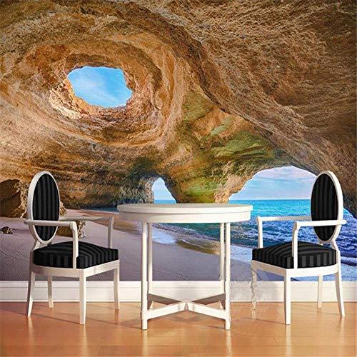 BIZI Tapete 3D Wallpaper Cave De Beach Reef Schlafzimmer Wohnzimmer Sofa Hintergrund Sidewall Wallpaper,225 * 336 cm