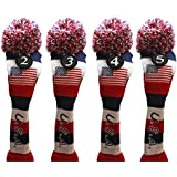 USA Majek Golf 2 3 4 5 Hybrid Set Headcovers Pom Pom Knit Limited Edition Vintage Classic Traditional Flag Stars Red White Blue Stripes Retro Head Cover 2-5 Set