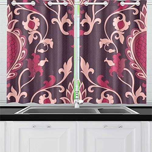 WDDHOME Damast Burgund filigran Ornament Elegante Küche Vorhänge Fenster Vorhang Ebenen für Café, Bad, Wäscherei, Wohnzimmer Schlafzimmer 26 x 39 Zoll 2 Stück (Vorhänge Fenster Badezimmer Burgund)