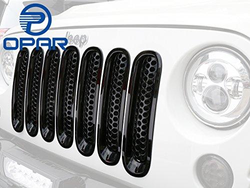 upgrade-clip-in-version-opar-black-front-mesh-grille-insert-for-2007-2017-jeep-wrangler-jk-7-pieces