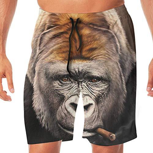 Animals Love Smoking Gorilla Herren Jungen Badehose 3D Print Schnell trocknend Sommer Surf Beach Board Shorts mit Mesh Futter XL (Gorilla-anzug Für Kinder)