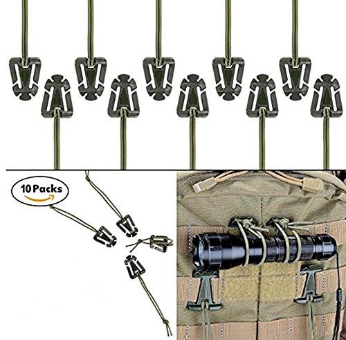 Tactical Gear Clip, Molle Web Dominators für Outdoor Trinkschlauch Rucksack Straps Management mit Elastikschnur, Praktischer Rucksack Zubehör für Outdoor, Wandern, Camping, Klettern von ZENDY (10er Pack) (Armeegrün) (Zubehör Klettern Schnur)