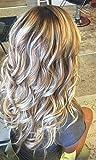 LaaVoo 20 Zoll Glueless Lace Front Wig with Baby Hair 130% Freier Teil Perucke Echte Human Haare Ash Blonde Highlights Mittel Blond Locken Klavier Farbe #18P22