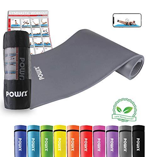 POWRX Gymnastikmatte Trainingsmatte Pilatesmatte Yogamatte Phthalatfrei 190 x 60 x 1.5 cm oder 190 x 100 x 1.5 cm inkl. Trageband (Grau, 190 x 100 x 1,5 cm)