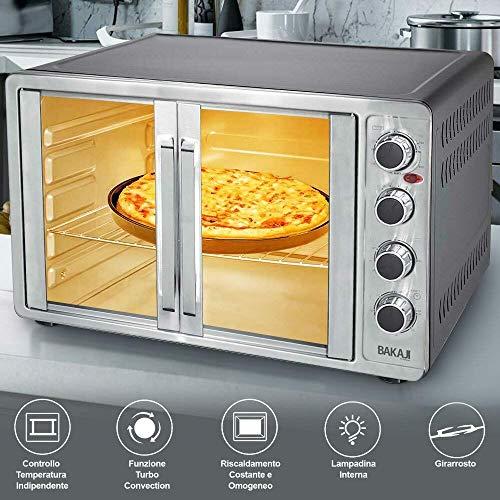 Bakaji home forno fornetto elettrico ventilato potenza 2200w con doppia porta luce interna selezioni di cottura temperatura regolabile timer e accessori (55 litri)