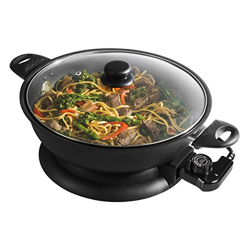 51nJsxF3pbL. SS500  - Elgento 30 cm Non-Stick Electric Wok with Glass Lid and Adjustable Thermostat - 1400 W, Black