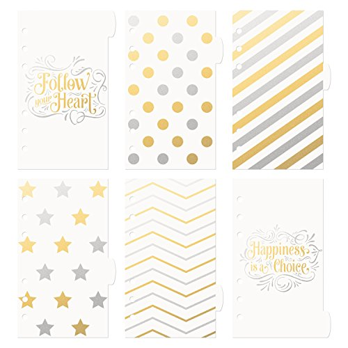 Discagenda 6 Sections Plastic Dividers For Planners Personal Organizers Gold And Silver Follow Your Heart And Patterns (Ringbound, Personal)