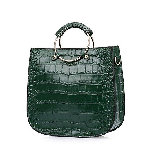 E-Girl Q0825 Damen Leder Handtaschen Satchel Tote Taschen Schultertaschen Grün