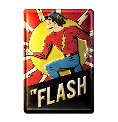 DC Comics - Flash Bleschilder Retro - Blechschild Vintage Comic Superhelden - 20x30 -Lizenziertes Originaldesign - LOGOSHIRT