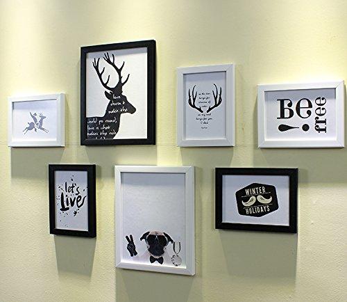 HJKY Photo Frame Wall Set Die Nordischen minimalistischen modernen Bilder Wand kreative Kombination von Wand-Frame Wand 10 Zoll 7 Zoll Fotos ist kleine Wand Dekoration Schwarz + Weiß Nordic Animation Chipsatz